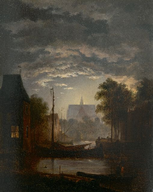 Jacobus Theodorus Abels | A moonlit town harbour, oil on panel, 29.7 x 23.6 cm
