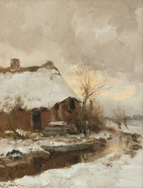 Willem George Frederik Jansen | Farmhouse in the snow, oil on canvas, 30.5 x 24.5 cm, signed l.l.