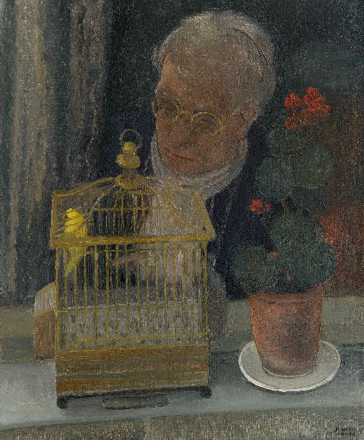 Harmen Meurs | Her little bird, oil on canvas, 55.3 x 46.1 cm, signed l.r. and dated '30