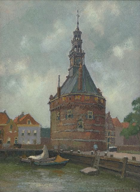 Beek B.A. van | The Hoofdtoren in Hoorn, oil on board 41.0 x 30.0 cm, signed l.r.