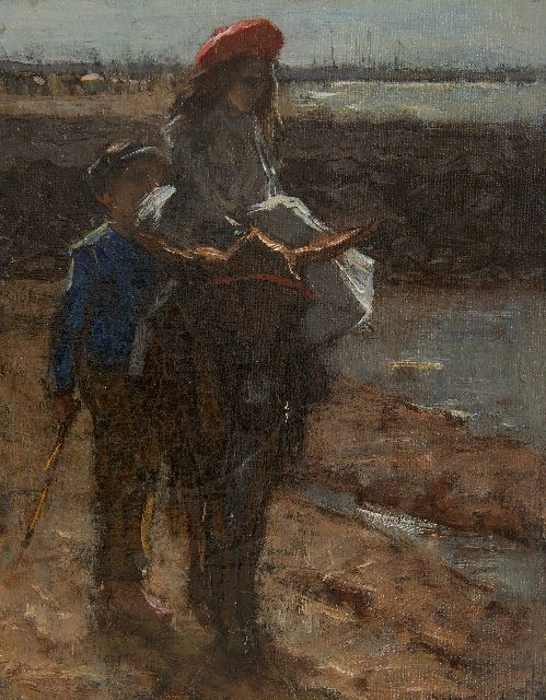 Maarel M. van der | At the beach, oil on canvas 24.5 x 19.2 cm, signed l.r.