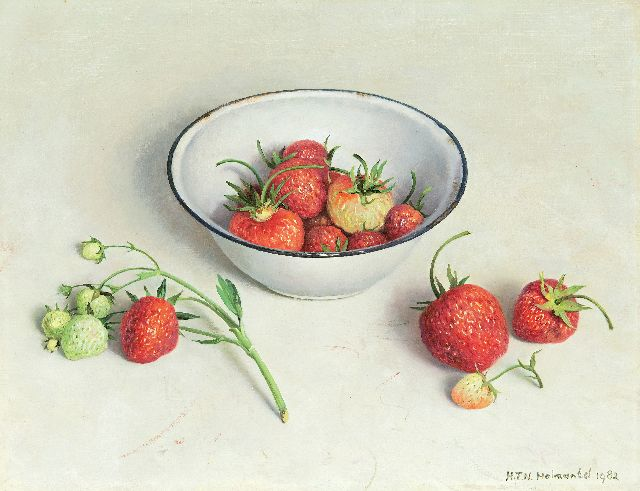 Helmantel H.F.N.  | A still life with an enamel bowl and strawberries, oil on board 26.4 x 34.2 cm, signed l.r. and on the reverse and dated recto and on the reverse '28 juni 1982'