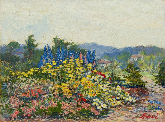 Goedvrind Th.F.  | Summer garden in bloom, oil on paper laid down on board 27.7 x 37.4 cm, signed l.r.