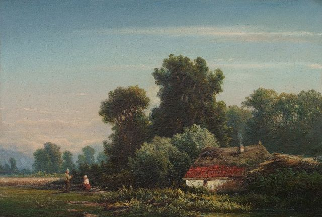 Marinus Heijl | Landfolk on the forest edge, oil on panel, 21.3 x 30.8 cm, signed l.l. with initials
