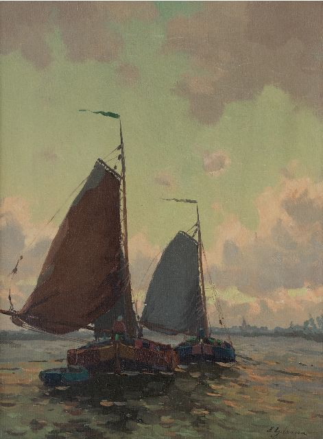 Egnatius Ydema | Barges on their way home, oil on canvas, 40.5 x 30.5 cm, signed l.r.
