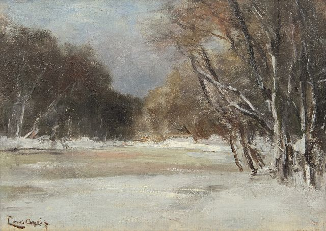 Louis Apol | A snowy forest pond, oil on canvas laid down on panel, 25.6 x 35.8 cm, signed l.l.