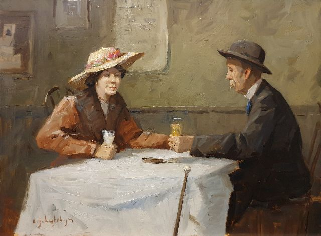 Evert Jan Ligtelijn | Man and woman in a café, oil on panel, 34.9 x 46.8 cm, signed l.l.