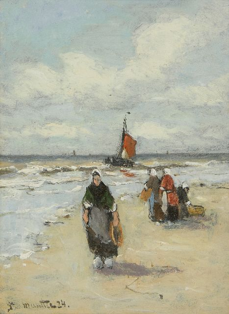 Munthe G.A.L.  | Fisherman's wives on the beach, oil on board 20.0 x 15.0 cm, signed l.l. and dated '24
