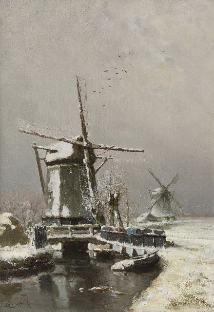 Louis Apol | Windmills in winter, oil on canvas, 50.1 x 34.8 cm, signed l.l.