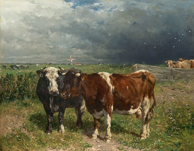 Jan de Haas | Cattle in a pasture, oil on panel, 79.8 x 100.0 cm, signed l.r.