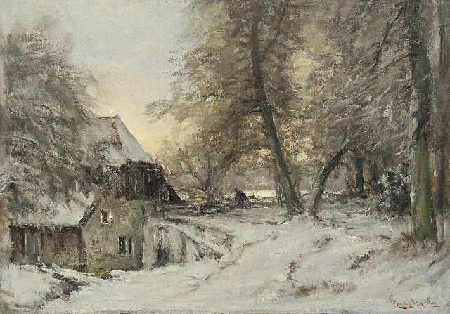 Louis Apol | A water mill in a snowy forest, oil on canvas, 42.4 x 60.7 cm, signed l.r.