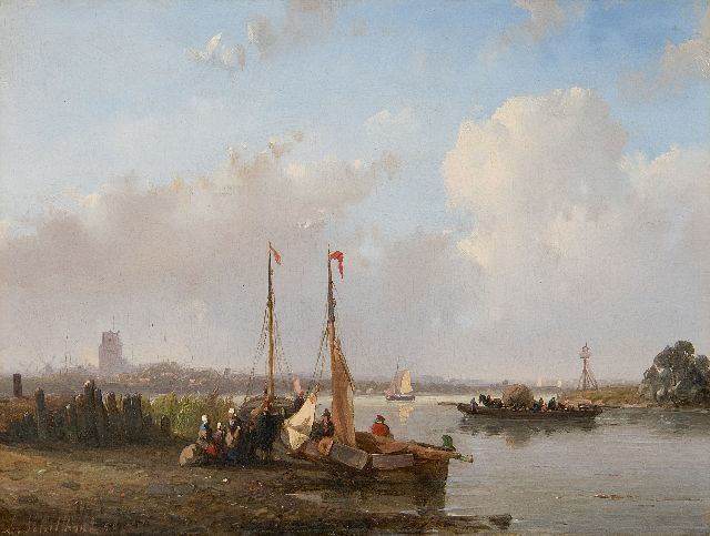 Andreas Schelfhout | A leisure day on the waters of Dordrecht, oil on panel, 17.3 x 22.7 cm, signed l.l. and dated '50