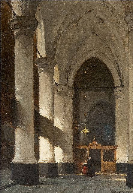 Bosboom J.  | The interior of the Grote or Sint-Jacobschurch in The Hague, oil on panel 24.5 x 17.6 cm, signed l.r.