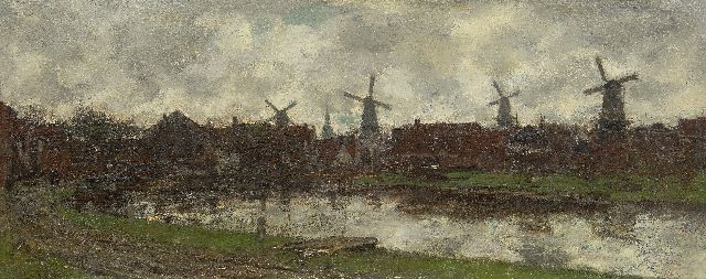 Maris J.H.  | The four windmills, Schiedam, oil on canvas 45.0 x 112.6 cm, signed l.l.