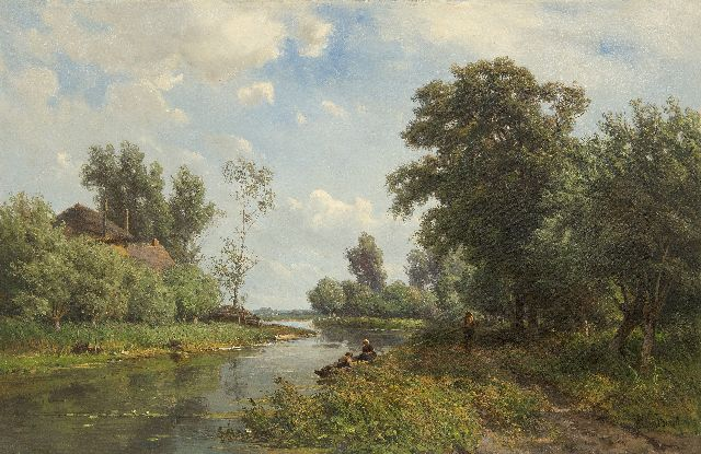 Jan Willem van Borselen | Along the river the Vlist, oil on canvas, 45.5 x 70.5 cm, signed l.r.