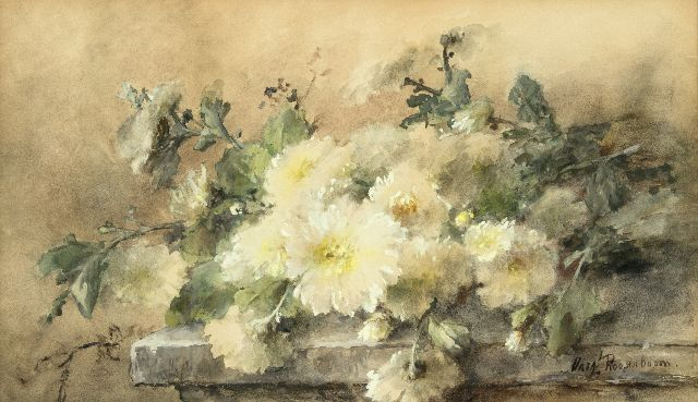 Margaretha Roosenboom | White chrysanthemums on a stone ledge, watercolour on paper, 44.6 x 74.9 cm, signed l.r.