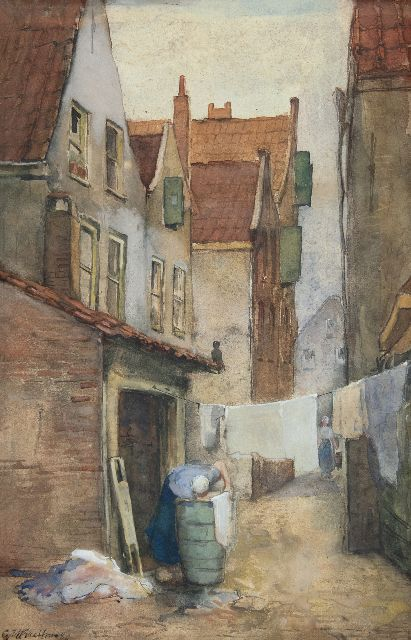 George Hendrik Breitner | Alley in Rotterdam with laundress, watercolour on paper, 39.1 x 25.7 cm, signed l.l. and dated '80