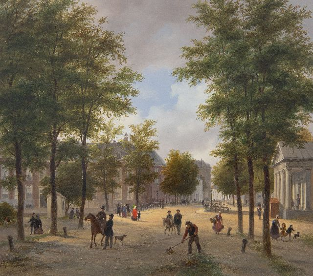 Bart van Hove | Korte Voorhout, The Hague, with the Wachtje at the Malieveld, oil on panel, 28.8 x 32.8 cm, signed l.l.