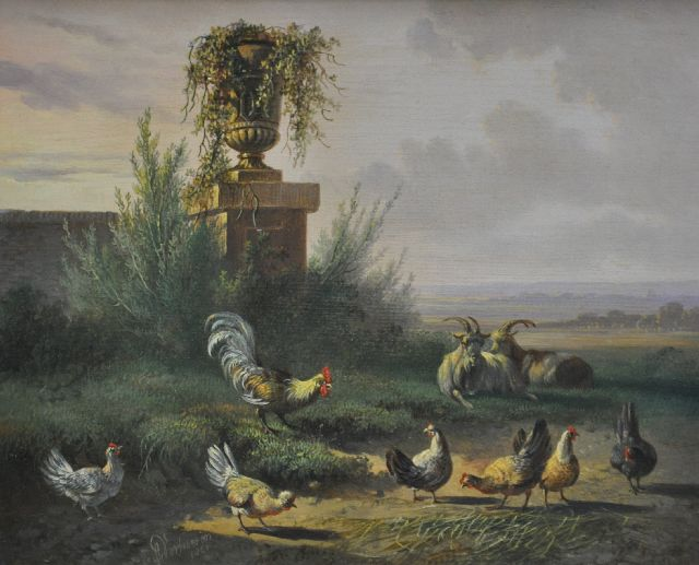 Albertus Verhoesen | A landscape with poultry and two goats, oil on panel, 18.0 x 22.1 cm, signed l.l. and dated 1861