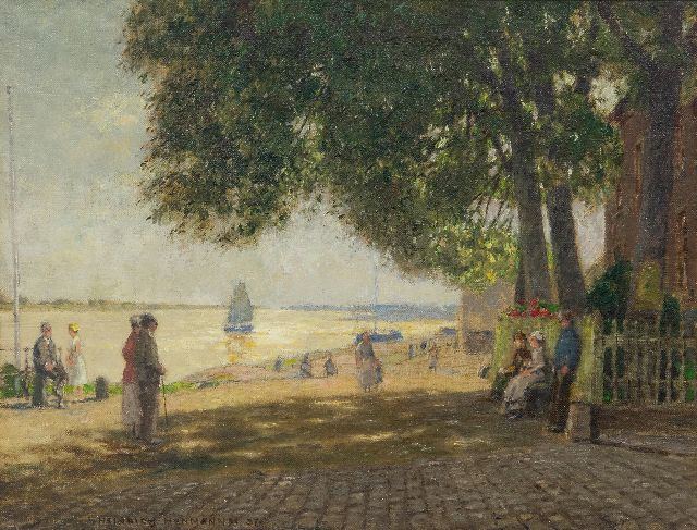 Hermanns H.  | At the 'krantor' in Rees on the river Rhine, oil on canvas 35.4 x 46.3 cm, signed l.l. and dated '37