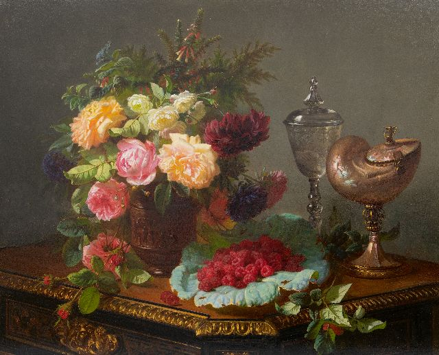 Jean-Baptiste Robie | A still life with roses, fruits and a nautilus cup, oil on panel, 63.0 x 77.8 cm, signed l.r.