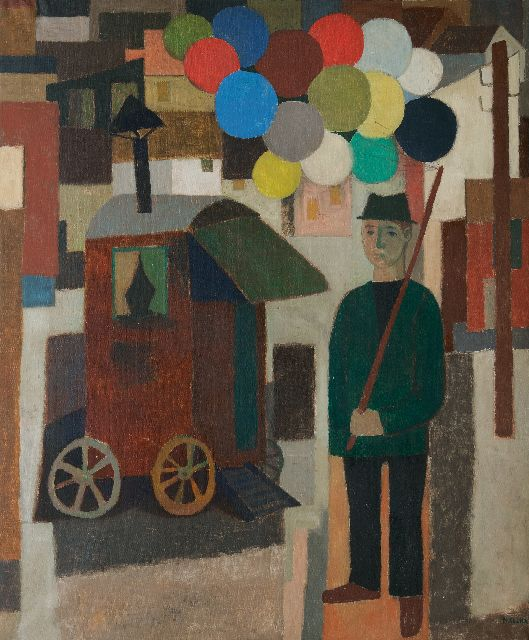 Cockx M.  | Balloon seller, oil on canvas 178.9 x 150.3 cm, signed l.r.