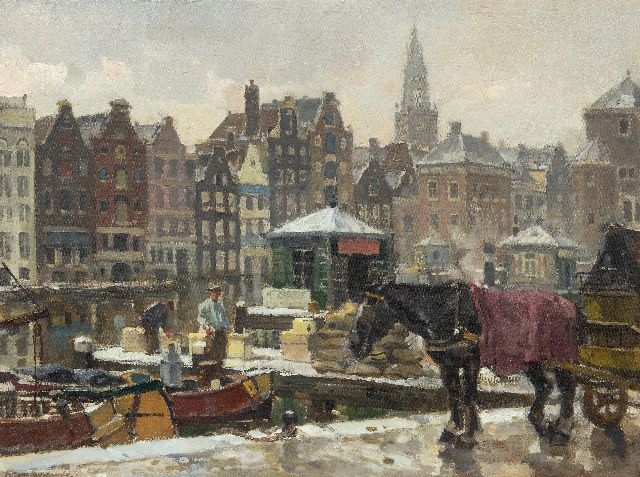 Frans Langeveld | The Damrak in Amsterdam, oil on canvas, 61.0 x 81.2 cm, signed l.l.
