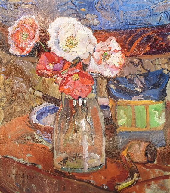 Edgard Wiethase | Poppies in a vase, oil on panel, 39.3 x 35.1 cm, signed l.l. and dated 1925