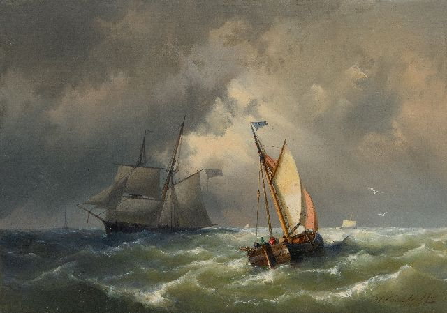 Hermanus Koekkoek jr. | Sailing ships on a choppy sea, oil on canvas, 25.3 x 35.3 cm, signed l.r. and dated 1860