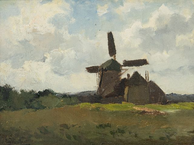 Chris van der Windt | Landscape with a windmill, oil on canvas laid down on panel, 22.3 x 28.2 cm, signed l.l.