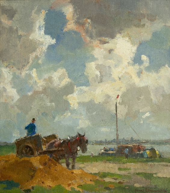 Frans Langeveld | Sand digger along the river, oil on canvas, 49.9 x 45.3 cm, signed l.r.