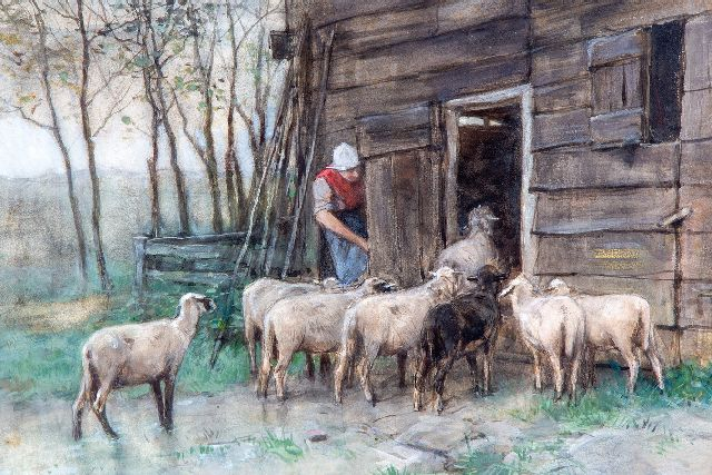 Anton Mauve | Sheep returning in their shed, watercolour on paper, 33.8 x 47.2 cm, signed l.r.