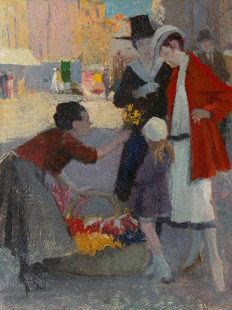 George Wildschut | At the florist, oil on board, 43.5 x 32.8 cm, signed l.r.