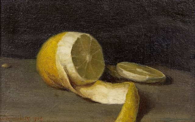 Wittenberg J.H.W.  | A still life with a lemon, oil on canvas laid down on board, 11.5 x 18.0 cm, signed l.l. and dated 1909