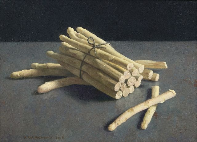 Helmantel H.F.N.  | Asparagus from the fish market, oil on board 40.0 x 54.6 cm, signed l.l. and dated 2016