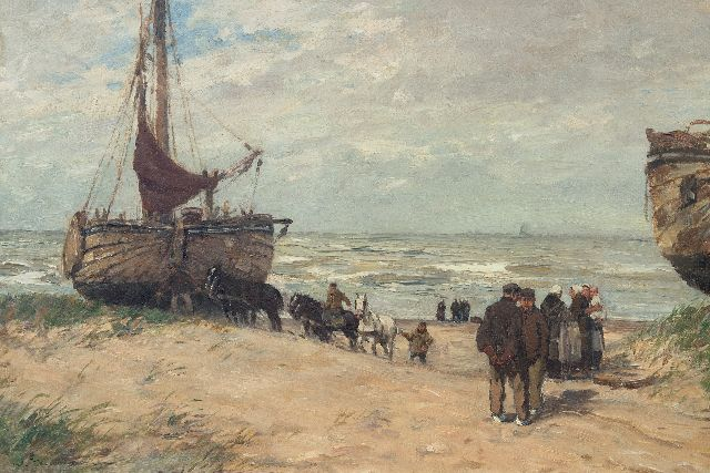 Hambüchen W.  | Fishing barges and fisherfolk on the beach of Katwijk, oil on canvas 50.0 x 75.0 cm, signed l.l.