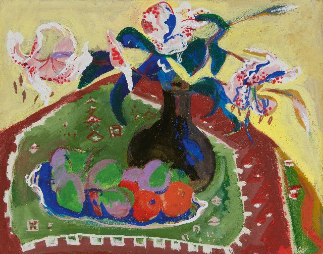 Jan Wiegers | A still life with flowers, oil on paper, 38.1 x 47.9 cm, signed l.r. and dated '29