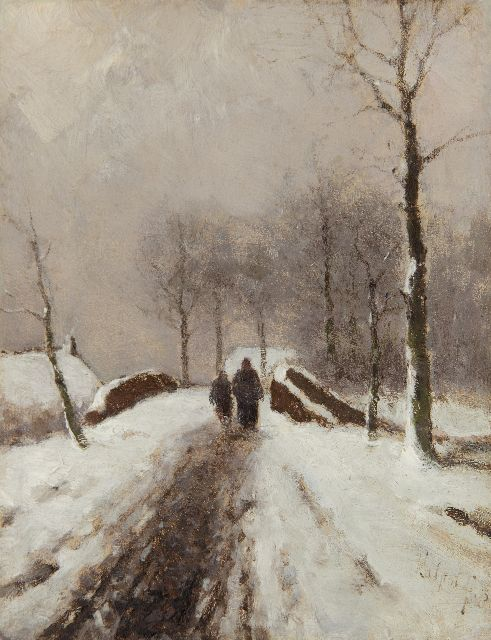 Louis Apol | Figures on a snowy path, oil on panel, 19.0 x 14.9 cm, signed l.r. and dated '75