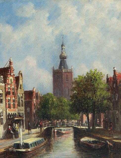 Petrus Gerardus Vertin | A town view with the churchtower of Overschie, oil on panel, 19.0 x 14.8 cm, signed l.r. and dated '77