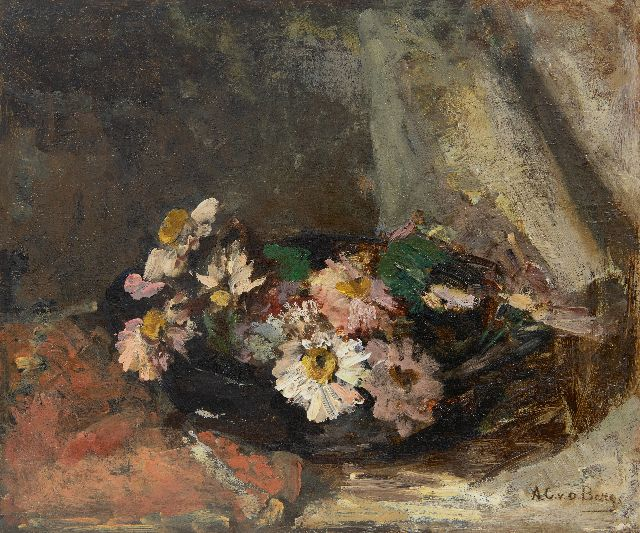 Ans van den Berg | Daysies in a bowl, oil on panel, 35.0 x 41.1 cm, signed l.r.
