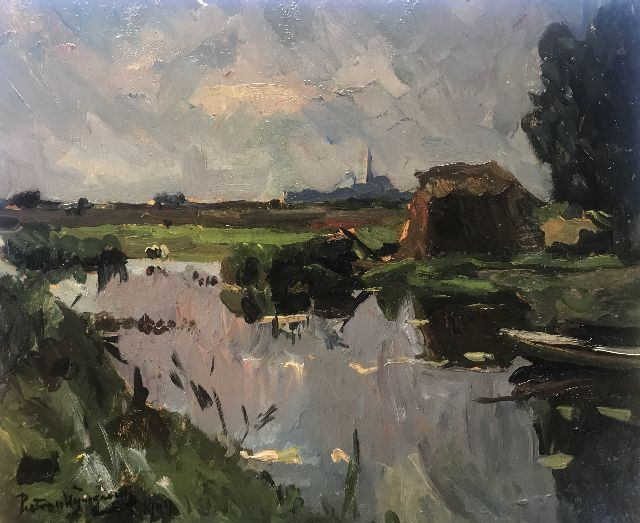 Wijngaerdt P.T. van | A polder landscape, oil on board 37.7 x 46.8 cm, signed l.l. and dated 1904