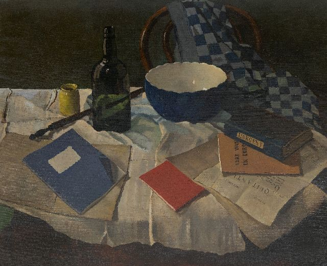 Lucas Verkoren | A still life with a bowl and books, oil on canvas, 75.7 x 91.5 cm, signed c.r. and dated 1955