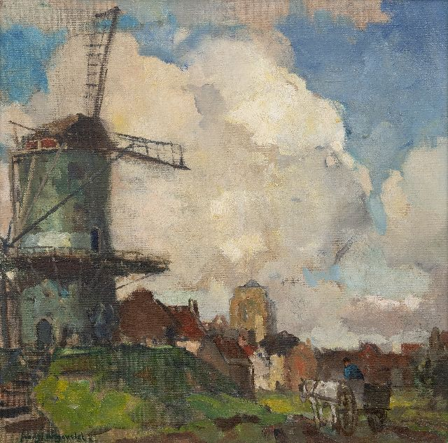 Frans Langeveld | A view of Zierikzee with the 'Dikke Toren', oil on canvas, 40.1 x 40.1 cm, signed l.l.