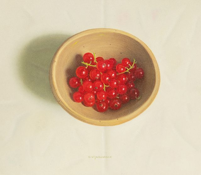 Wijngaarden G.  | Currants in a bowl, oil on board 19.5 x 22.4 cm, signed l.c.