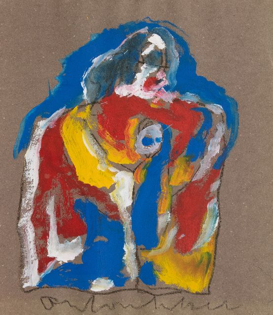 Anton Heyboer | Mother and child, mixed media on paper, 72.5 x 64.0 cm, signed l.c.