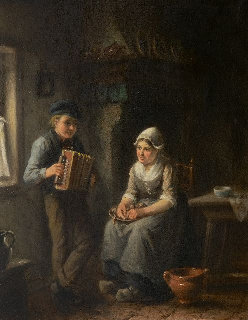 Jan Jacobus Matthijs Damschreuder | The young accordion player, oil on canvas, 47.4 x 37.2 cm, signed l.l.