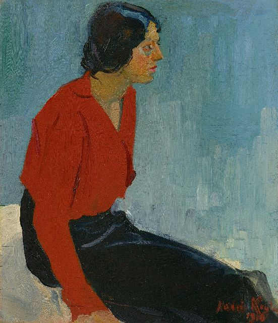 Harrie Kuijten | A woman in a red blouse, oil on panel, 57.1 x 49.5 cm, signed l.r. and dated 1910