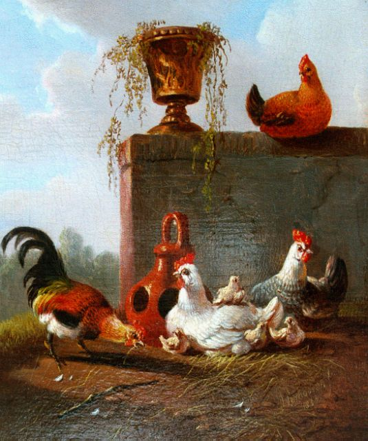 Albertus Verhoesen | Poultry in a classical landscape, oil on panel, 12.1 x 10.2 cm, signed l.r. and dated 1857