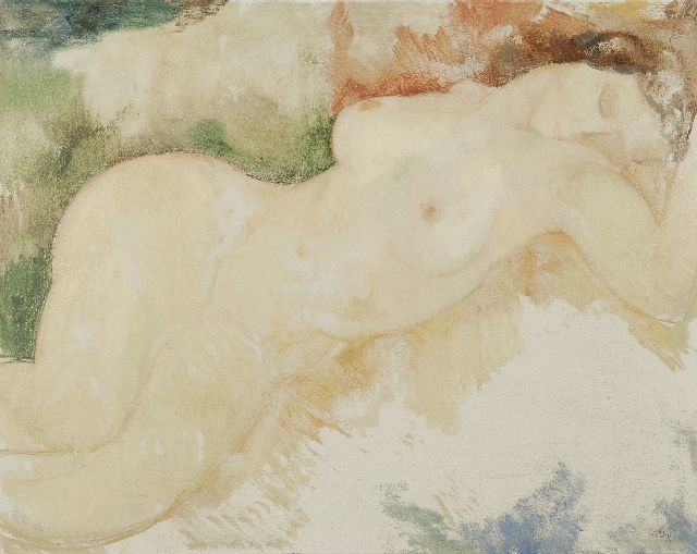 Toon Kelder | Reclining nude, oil on painter's board, 69.4 x 88.1 cm, signed l.r.