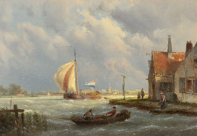 Koekkoek H.  | Sailing tjalk in sturdy weather, oil on panel 22.1 x 32.0 cm, signed c.r. on the house